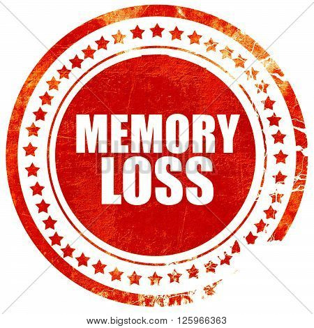 memory loss, isolated red stamp on a solid white background