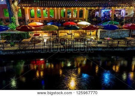 The Riverwalk At San Antonio, Texas, At Night.
