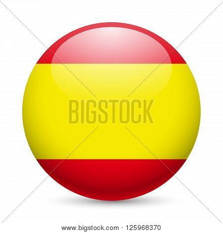 Flag of Spain as round glossy icon. Button with Spanish flag