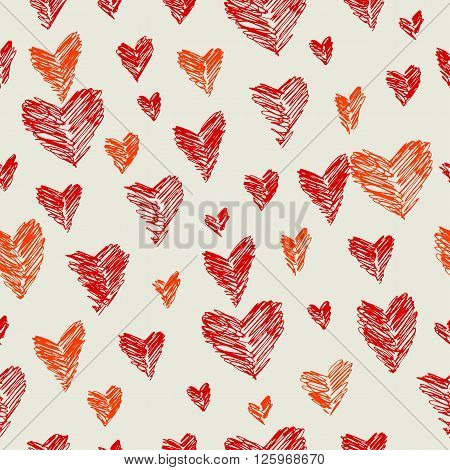Vector seamless pattern with crimson and scarlet hearts