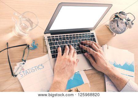 White Laptop Office Alarm Side