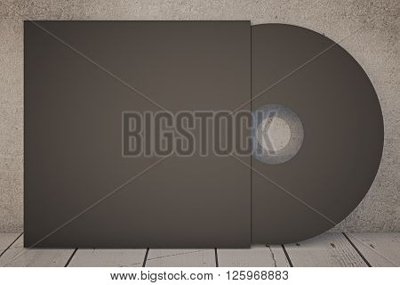 Dark compact disk on concrete wall. Mock up 3D Rendering