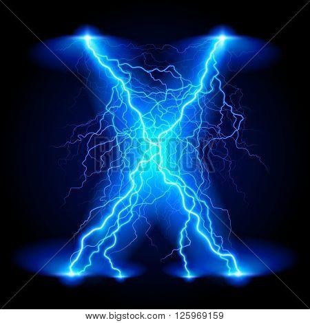 Criss-cross lines of branchy bright blue lightning.