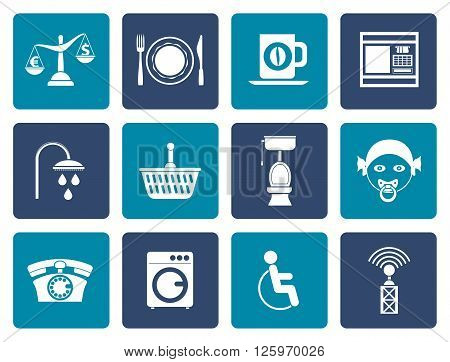 Flat Roadside, hotel and motel services icons  - vector icon set