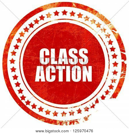 class action, isolated red stamp on a solid white background