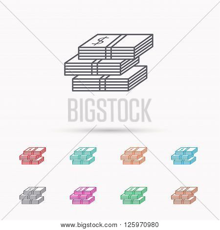 Cash icon. Dollar money sign. USD currency symbol. 3 wads of money. Linear icons on white background.