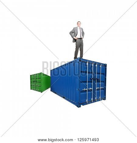 A shippping container and businessman on white