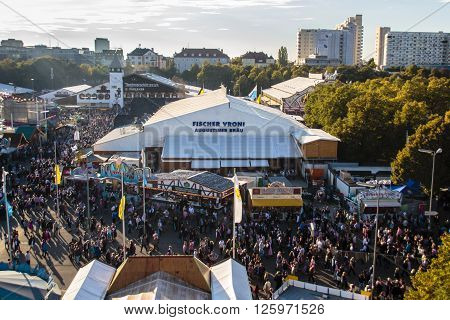 MUNICH, GERMANY - OCTOBER 02: Aerial view on the Oktoberfest on Theresienwiese in Munich