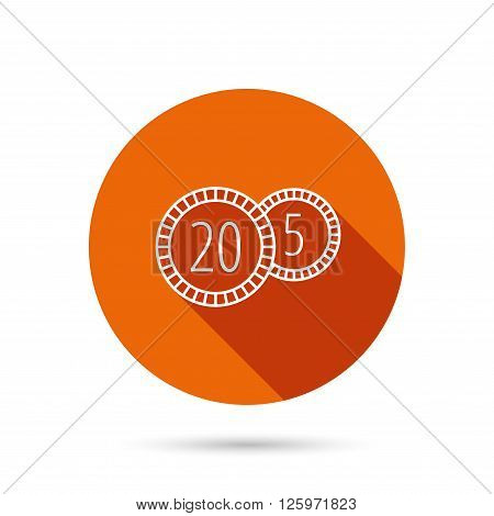Coins icon. Cash money sign. Bank finance symbol. Twenty and five cents. Round orange web button with shadow.