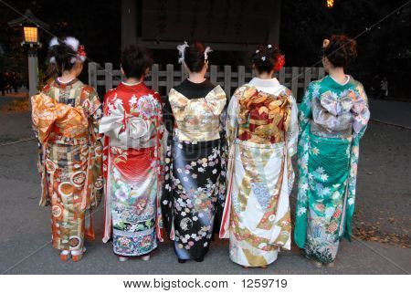 Group Of Girls In Kimono