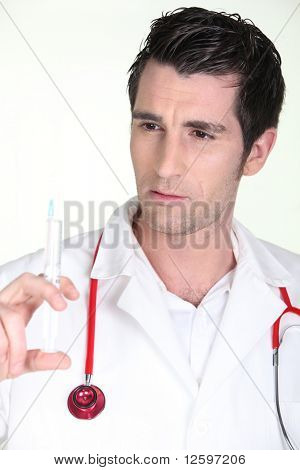 Portrait of a nurse with a syringe