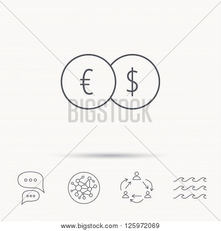 Banking Transfer Sign Euro To Dollar Symbol Global Connect Network