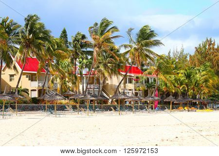 FLIC EN FLAC, MAURITIUS ISLAND - 29. OCTOBER, 2015: Flic-en-Flac is a seaside village on the western part of the island in the district of Riviere Noire. Its beach is one of the longest and nicest.