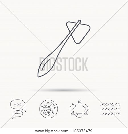 Reflex hammer icon. Doctor medical equipment sign. Nervous therapy tool symbol. Global connect network, ocean wave and chat dialog icons. Teamwork symbol.