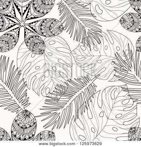Vector leaves fbackground. Tropica leaves hand drawn in black and white outline for coloring page coloring book for adult illustration