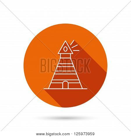 Lighthouse icon. Searchlight signal sign. Coast tower symbol. Round orange web button with shadow.