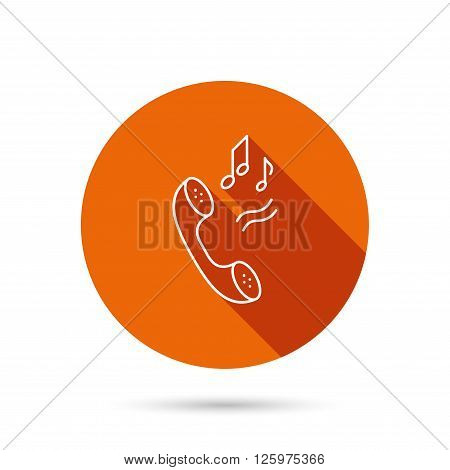Phone icon. Call ringtone sign. Round orange web button with shadow.