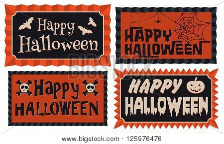 Happy Halloween-Set of four Happy Halloween typographic banners in orange and black framed with a rosette border