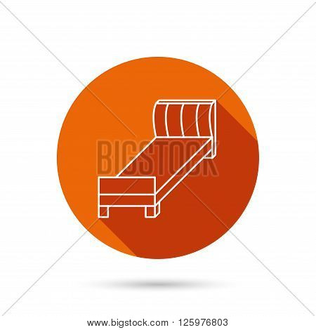 Single bed icon. Bedroom furniture sign. Round orange web button with shadow.