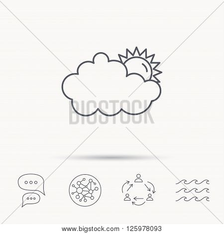 Sunny day icon. Summer sign. Overcast weather symbol. Global connect network, ocean wave and chat dialog icons. Teamwork symbol.