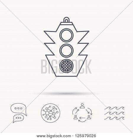Traffic light icon. Safety direction regulate sign. Global connect network, ocean wave and chat dialog icons. Teamwork symbol.