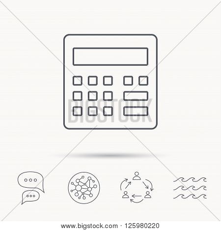 Calculator icon. Accounting sign. Balance calculation symbol. Global connect network, ocean wave and chat dialog icons. Teamwork symbol.