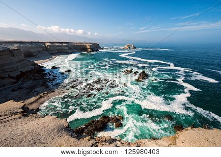 Arch Rock Formation in La Portada National Reserve is an emblem of Chilean Coast