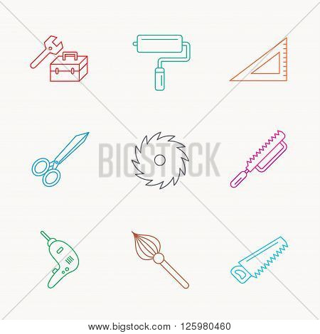 Scissors, paint roller and repair tools icons. Fretsaw, circular saw and brush linear signs. Triangular rule, drill icons. Linear colored icons.