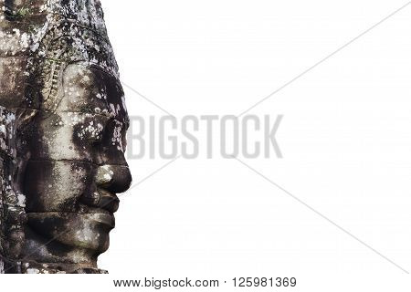 Giant stone face at ancient Bayon temple isolated on white background, Angkor, Siem Reap, Cambodia.