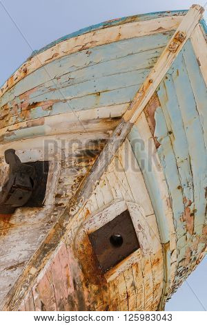 Old Derelict Wooden Fishing Boat Wreck Diagonal Perspective
