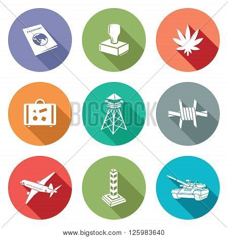 Border crossing Icons Set. Vector Illustration. Isolated Flat Icons collection on a color background for design