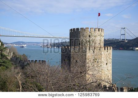 The tower of Rumeli Hisari fortress on the Bosphorus. Istanbul, Turkey