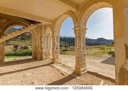 Arches And Stairs Of Derelict Agios Georgios Church, Davlos Cyprus