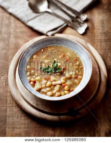 Bowl of Split Pea Soup with bacon and sausage (polish cuisine)
