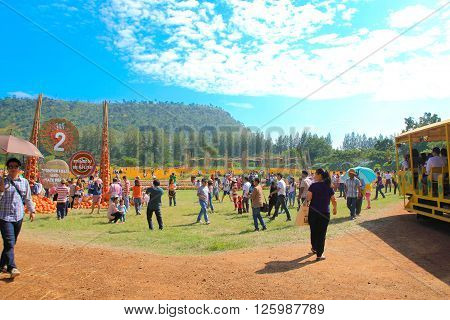 NAKHONRATCHASIMA THAILAND- DECEMBER 14 : people travel in Jim Thompson Farm on DECEMBER 14 2014 in NAKHONRATCHASIMA THAILAND. The House of the world renowned Jim Thompson Thai Silk.