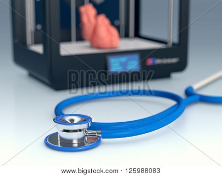 close up view of a stethoscope with a 3d printer on background concept of 3d printing and medicine (3d render)