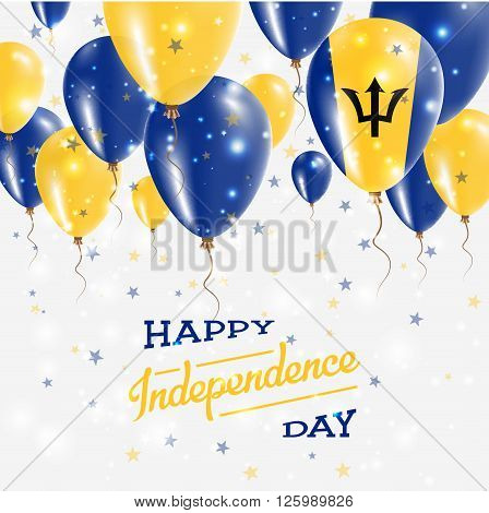 Barbados Vector Patriotic Poster. Independence Day Placard With Bright Colorful Balloons Of Country