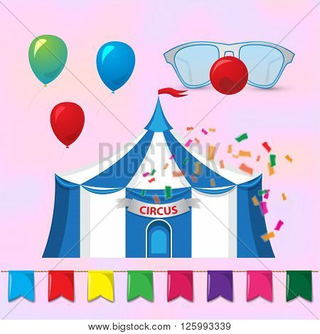 Big Top Circus Tents with decorative elements. Circus elements. Magic hat with rabbit ears and clowns glasses with red nose. Vector illustration