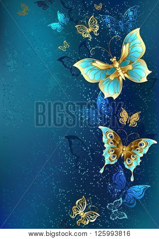 Flying gold jewelry butterfly on blue textural background. Design with butterflies.