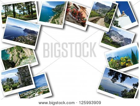 Capri island, Italy.Capri is an island in the Tyrrhenian Sea near Naples. Collage