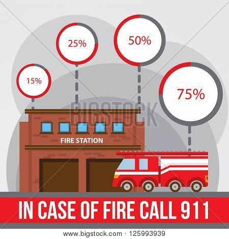 Illustration of a fire station fire engine with infographics elements and round diagramm. Flat style.