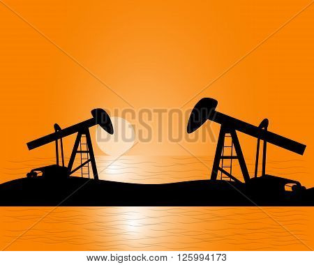 oil production from beneath the earth by oil rigs