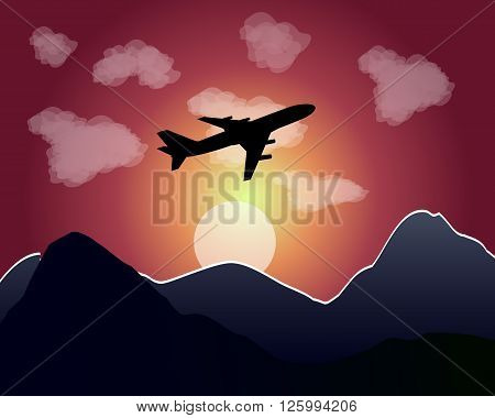 setting of the sun mountains clouds flying plane
