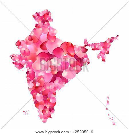 India. Silhouette of Indian peninsula map of rose petals
