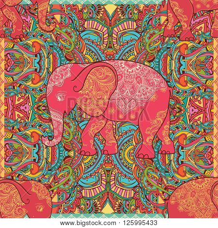 Greeting Beautiful card with Elephant. Elephant Illustration for design, pattern, textiles. Hand drawn map with Elephant. Use for children's clothes, pajamas, web sites pattern extile print texture