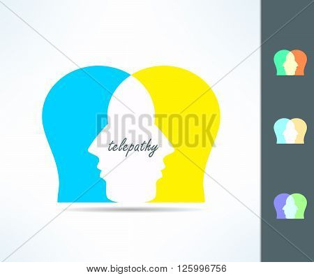 Telepathy people idea. Telepath person head icon. Telepathic brain ability concept.
