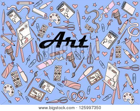 Stationery shop coloring book line art design vector illustration. At separate objects. Hand drawn doodle design elements.