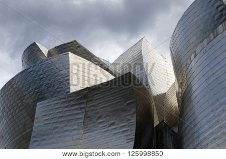 Bilbao Spain - March 26 2016: Details of the Guggenheim Museum built in 1997 by canadian architect Frank Gehry