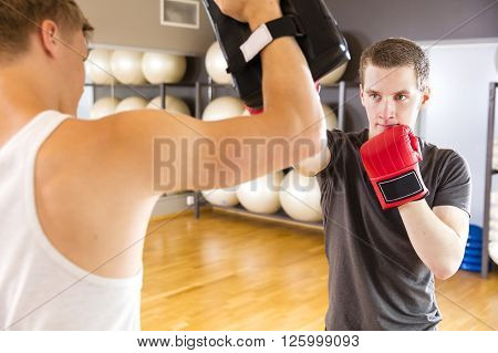 Two young and focused people trains boxing in pairs. Sparring as workout at the fitness gym.