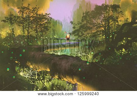 treetop trailman standing in fantasy forest, illustration painting